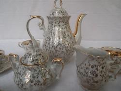 Kávéskészlet - porcelán - 14 darabos aranyozott Bavaria