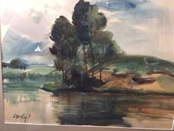 Élesdy István csodás akvarellje, Tóparti fák, tájkép, aukcionált festmény