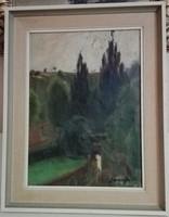 Udvary Dezső: Park Olaj-vászon festmény. 40 cm X 30 cm Kerettel: 50 cm X 40 cm