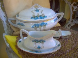 Szecessziós porcelán levesestál, szószos és sótartó