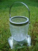 Mintás kristály?üvegből készült fém füles és peremes tároló
