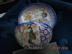 19.sz Kutani 6 kézi írásjellel,tojáshéj teáscsésze 4 gésa és virágos méhkaptár,szvasztika mintával