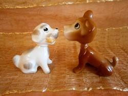 2 db jelzett porcelán bólogató, levehető fejű kutya, kutyus az egyik Aquincumi