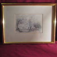 Szek1  Szignózott tus-akvarell kép hozzáillő keretben 42x33  22x15 cm