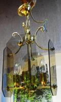 Szép régi réz lámpa metszett üveggel