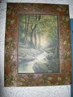 Szecessziós egér rágta :) képkeret -ben impresszionista -as festmény Erdei patak