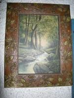 Szecessziós  képkeret +  festmény olajfestmény Lőve szignó Erdei patak tájkép csendélet