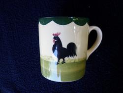 Fajansz kézzel festett kakasos csésze