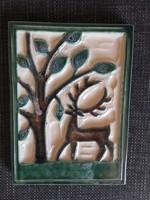 Zsolnay falikép szarvas