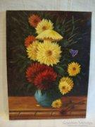 Ofcsák L. csodás virágcsendélet festmény