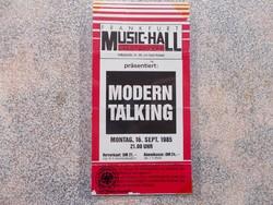 Belepesi jegy Modern Talking Concert,1985