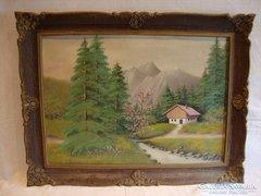 Jelzett tájkép festmény gyönyörű keretben