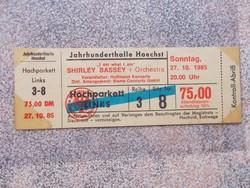 Belepesi jegy, Shirley Bassey concert,1985
