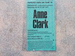 Belepesi jegy  Anne Clark  Concert,1987