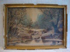 Akvarell tájkép erdei patak , szép darab