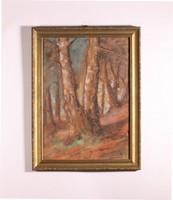 Erdő csendélet, aranyozott kerettel