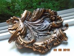 Barokk levél-virág-gyümölcs mintás asztaldísz,bronzírozott,antikolt fémöntvény