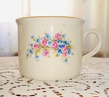 Zsolnay, rózsákkal és búzavirággal díszített porcelán csupor, tejfölös bögre