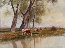 Olgyay Ferenc (1872-1939): Tehenek vízparton
