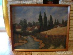 Nádasi 1955 olaj-vászon életkép festmény 63x78 cm