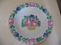 Kerámia iparművész fali tányér / dísz tányér (virágmintás)