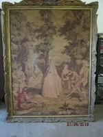 Csodálatos több mint 100 éves szines francia falikárpit eredeti blondeln keretében 180x136 cm