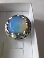 Izraeli ezüst gyűrű, opalittal, gyönggyel!!!!!!!!!!!!!!