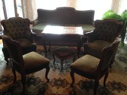 Barokk szalon ülőgarnitúra /zöld bársony kárpittal/