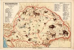Magyarország állatföldrajzi térkép 1928, magyar nyelvű, 28 x 40 cm, állat, hal, madár, emlős