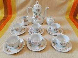 Porcelán kávés- teáskészlet,6 személyes, komplett ./15db/kiöntővel,cukortartóval.
