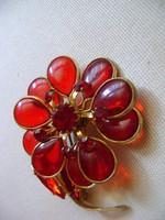 Szépséges antik  tűzaranyozott bross cca 1910 k galabvérvőrős sz rubin.