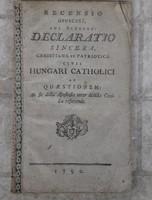 Declaratio sincera latin nyelvű, 1790-ből.
