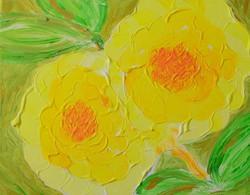 Szép pasztózus virág festmény vásznon, 30x24 cm