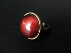 Réz gyűrű mézbarna kabosonnal