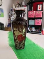 Zsolnay eozin mázas,virágmintás kis váza.