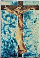 """Szász Károly István (1909-1979) Hidegzománc fali relief """"ECCE HOMO """" EREDETI GARANCIÁVAL !"""
