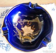 Kobalt kék,15 cm átm. hamuzó 24 kar.arannyal festett