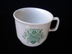 Retró teás csésze zöld mintás