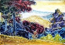 Vincze Győző: Dombos tájkép (1966.)