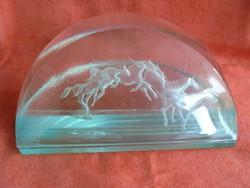 Iparművészeti ló figurás üveg asztali dísz