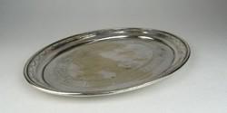 0S175 Régi ovális alakú ezüstözött tálca 27 cm