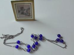 Régi kék moonglow gyöngyös nyaklánc