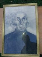 Portré, grafika, nívós, min.30x40, keretben, üveg előtt