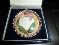 Szecessziós festett porcelán medál
