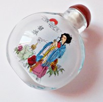 Kínai belülről kézzel festett üvegcse dobozában