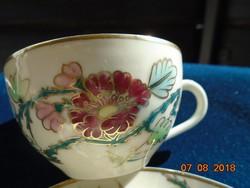 """Zsolnay ritka """"perzsa mintás"""" aranykontúrozott dombor zománc majolika kávés csésze alátéttel"""