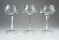 0S128 Gyönyörű talpas csiszolt pezsgőspohár 3 db