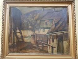 Házak festmény
