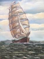 Vitorlás hajó a tengeren tájkép