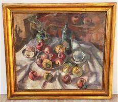 Sárközy Zoltán ( 1910-) csendélet c.olajfestménye 95x85cm Eredeti Garanciával !